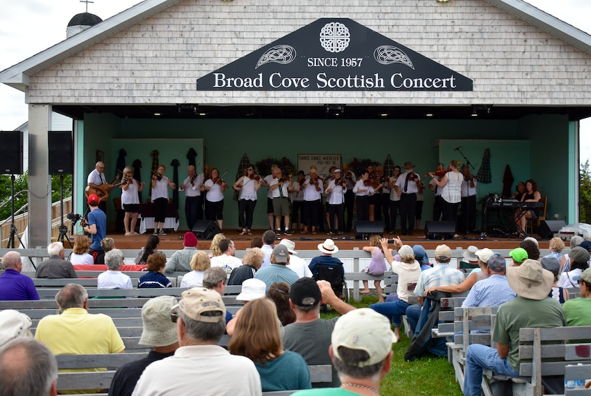 It's been some time since crowds have been permitted to attend arts and culture gatherings such as Cape Breton's annual Broad Cove Scottish Concert. This file photo shows performers and concert-goers at the July 2019 event.