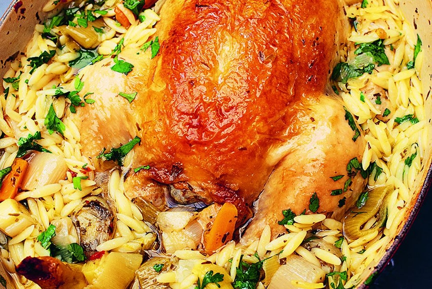 Chicken in a pot with lemon and orzo from Cook, Eat, Repeat.
