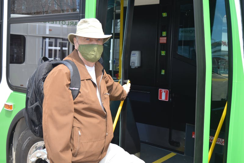 Bob Foster of Charlottetown, an avid transit user, gets ready to climb on one of the new buses just added to the T3 Transit fleet. - Dave Stewart
