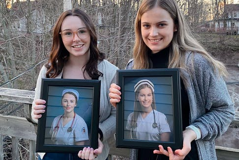 Clare MacDonald, Pictou, left, and Chloe MacLeod, Stellarton, met as first year St. FX nursing students and will graduate this weekend.
