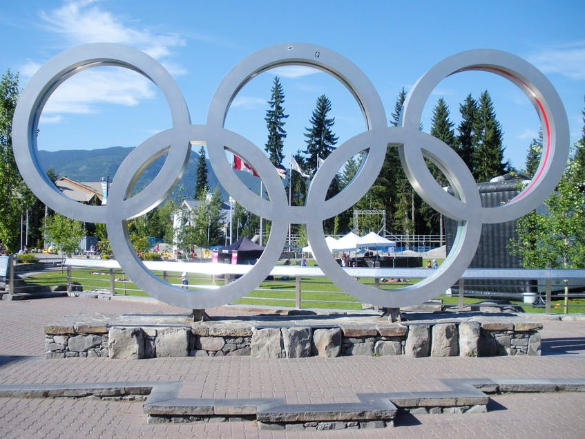 The Olympic Rings at Whistler Village's Olympic Plaza. B.C. is looking into hosting the 2030 Olympic Games.  - Nicole  Feenstra
