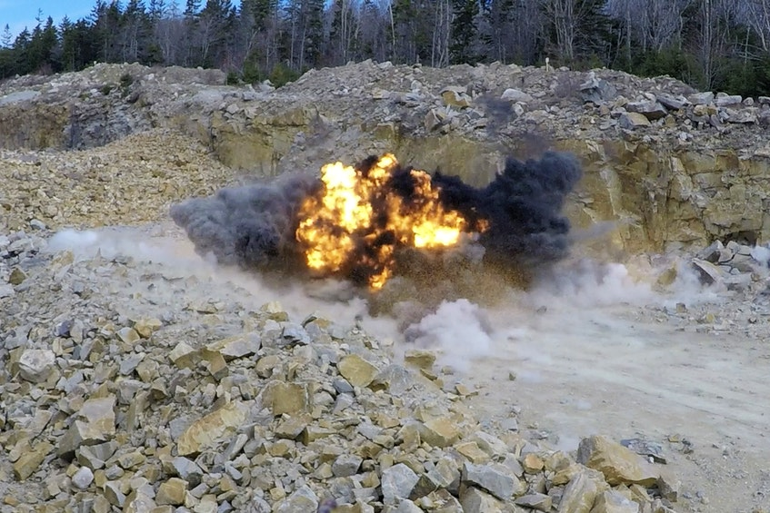 The UXO found in Chebogue Point, Yarmouth Nova Scotia, was safely disposed of in a nearby rock quarry by Members of the Maritime Explosive Ordnance Disposal (MEOD) Team from Fleet Diving Unit (Atlantic) PHOTO: MASTER CORPORAL IAN THOMPSON, CANADIAN ARMED FORCES   - Saltwire network