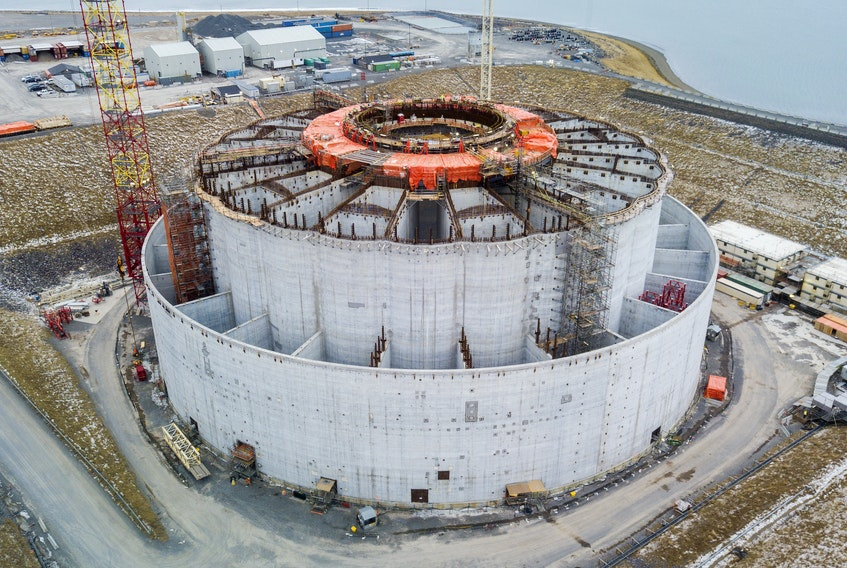 The West White Rose concrete gravity structure in December 2019 with all four of its lower quadrants in place. The project is currently in warm-idle mode.  — Husky Energy