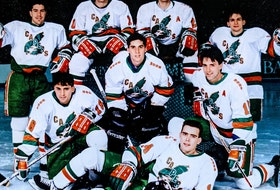 Members of the University College of Cape Breton Capers men's hockey team pose for a picture in the early 1990s. Front, Gary Hickey; from left, middle row, Paul Pedenelli, Darryl Paquette and John Lake; back, Eoch Barrette, Mike O'Neill, John Cunningham and Derek Joseph. CONTRIBUTED • DARRYL PAQUETTE