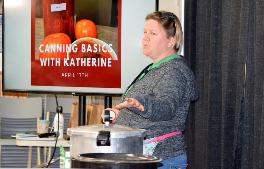 Katherine Adams from Bowtruckle Farm in Clyde River talks about the basics of canning in her presentation at the Simple East Coast Living Fair in Barrington on April 17. - KATHY JOHNSON/SALTWIRE NETWORK