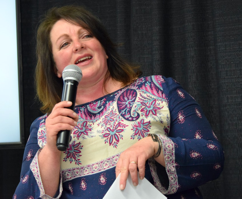 Jennifer Spencer welcomes people to the Simple East Coast Living Fair at the Barrington Area Lions Hall on April 17. - KATHY JOHNSON/SALTWIRE NETWORK
