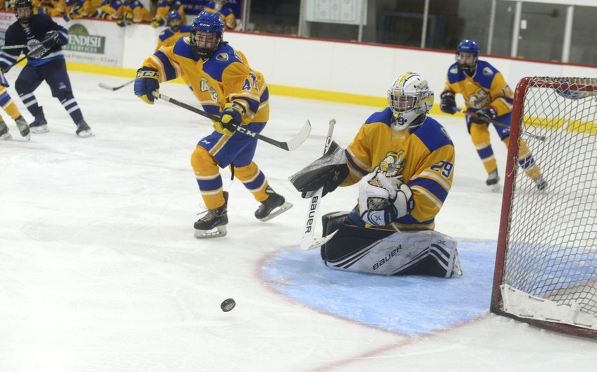 Prince County Warriors goalie George Gallant makes a save during Game 4 of the P.E.I. Major Under-15 AAA Hockey League championship final Friday in O'Leary. - Jason Malloy