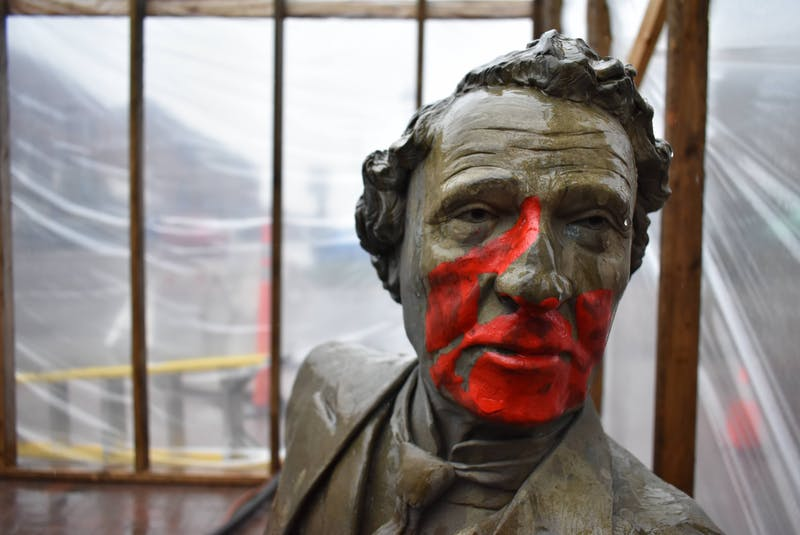 The Sir John A. Macdonald bench statue once again was vandalized with red paint last month. - SaltWire Network