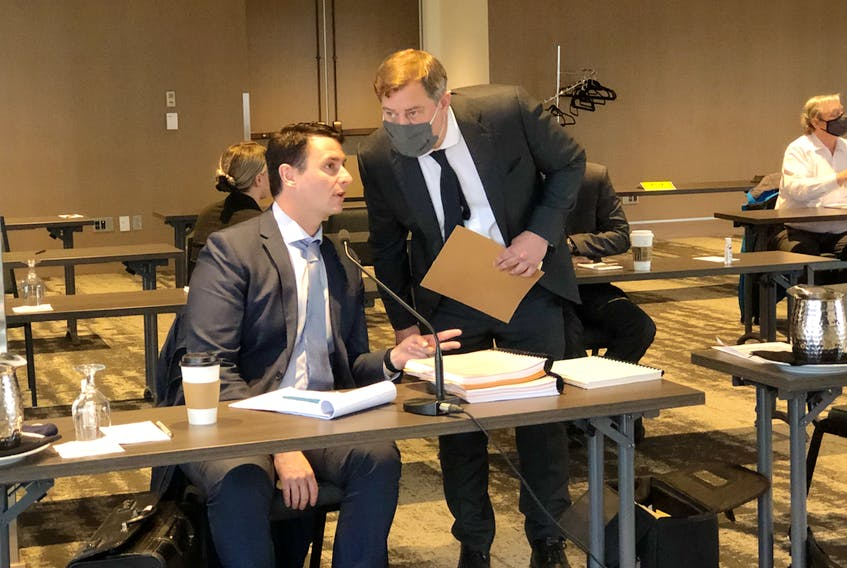 Lawyers Steve Orr (left) and Ken Mahoney are representing two Royal Newfoundland Constabulary officers who are the subject of a Public Complaints Commission hearing in St. John's this week. The two officers are expected to testify at the hearing today in defence of their actions related to a motor vehicle accident in Paradise in 2017 and allegations that they unlawfully arrested a man and his son, assaulted the younger man and unjustifiably broke a window in their home.