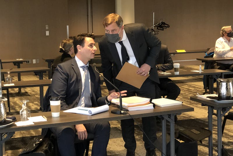 Lawyers Steve Orr (left) and Ken Mahoney are representing two Royal Newfoundland Constabulary officers who are the subject of a Public Complaints Commission hearing in St. John's. - Tara Bradbury