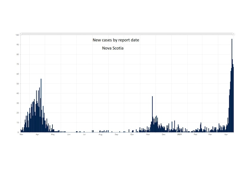 This chart shows the daily case totals in Nova Scotia since the pandemic began.