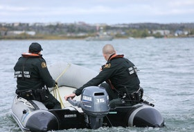 Fishery officers on a 2020 patrol in the Maritimes region. Photo courtesy Fisheries and Oceans Canada.