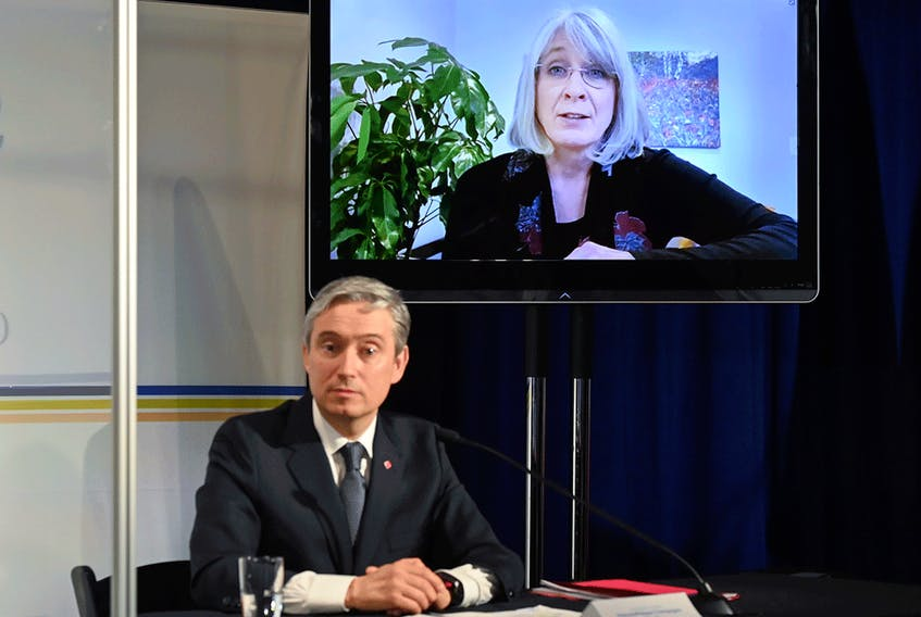 Federal Health Minister Patty Hajdu and Industry Minister François-Philippe Champagne announce $925-million in funding to expand Canada's vaccine manufacturing capacity with Sanofi Pasteur Ltd., March 31, 2021. Champagne says he is confident Canada can be reestablished as a leader in bio-manufacturing.