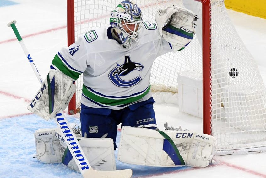 Vancouver Canucks goalie Braden Holtby is beaten for a goal by a shot from Toronto Maple Leafs forward Pierre Engvall during the second period at Scotiabank Arena on Thursday.