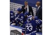 Toronto Maple Leafs Sheldon Keefe on the bench during the second period in Toronto on Thursday April 29, 2021. Jack Boland/Toronto Sun/Postmedia Network