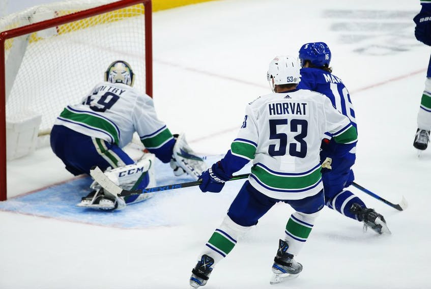 Toronto Maple Leafs Mitch Marner RW (16) scores after capitalizing on Vancouver Canucks Braden Holtby G (49) giveaway during the third period in Toronto on Thursday April 29, 2021. Jack Boland/Toronto Sun/Postmedia Network