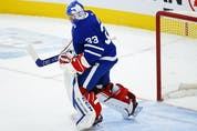 Toronto Maple Leafs David Rittich G (33) pumps his fist after winning the game in Toronto on Thursday April 29, 2021. Jack Boland/Toronto Sun/Postmedia Network