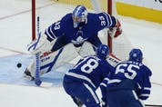 Toronto Maple Leafs David Rittich G (33) makes a toe stop on a shot during the first period in Toronto on Thursday April 29, 2021. Jack Boland/Toronto Sun/Postmedia Network