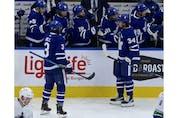 Toronto Maple Leafs Auston Matthews C (34) scores early in the second period in Toronto on Thursday April 29, 2021. Jack Boland/Toronto Sun/Postmedia Network