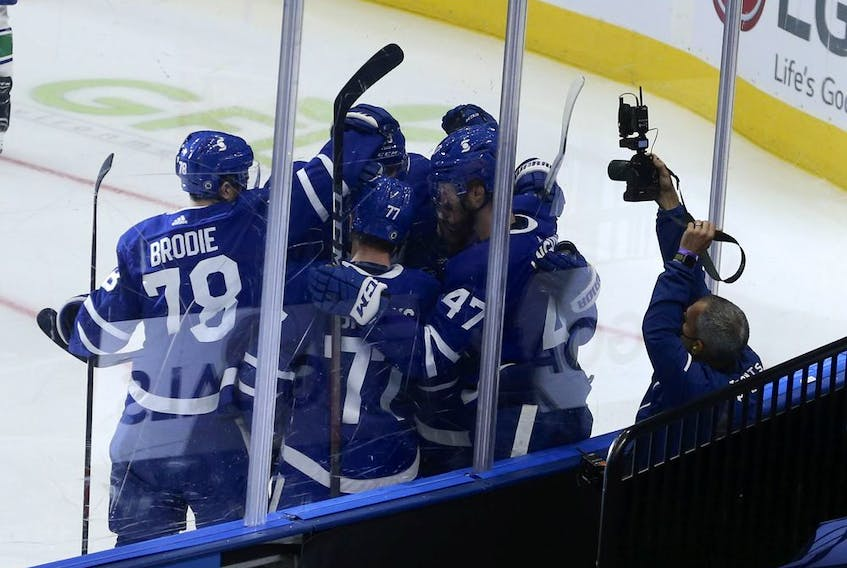 Toronto Maple Leafs Pierre Engvall LW (47) scores the third goal of the game  in the second period in Toronto on Thursday April 29, 2021. Jack Boland/Toronto Sun/Postmedia Network
