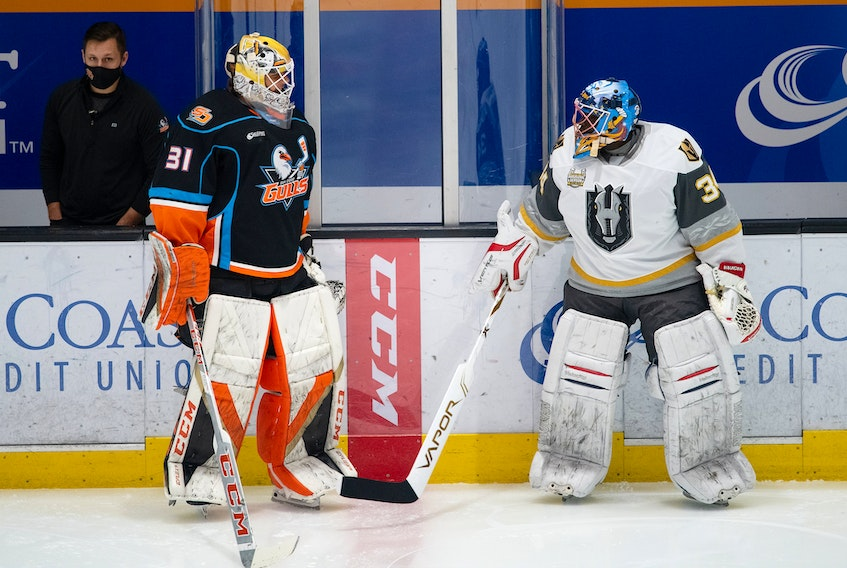 Fred Brathwaite, right, served as the emergency backup for the Henderson Silver Knights game against the San Diego Gulls last Saturday. CONTRIBUTED • HENDERSON SILVER KNIGHTS
