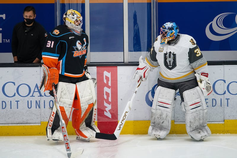 Fred Brathwaite, right, served as the emergency backup for the Henderson Silver Knights game against the San Diego Gulls last Saturday. CONTRIBUTED • HENDERSON SILVER KNIGHTS - Contributed