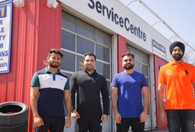 Meet the young guns whose latest Cape Breton business venture is in the automotive sector. The quartet of 20-somethings recently purchased a prime Prince Street property in Sydney that they plan to re-open as a vehicle service centre that will include oil changes, alignments and a small used car lot. From left: Ankit Balyan, Sanjeev Yadav, Ajay Balyan and Lovepreet Singh. DAVID JALA/CAPE BRETON POST