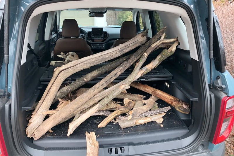 With the rear seats folded, the Ford claims two upright mountain bikes will fit in the Bronco Sport, or a pile pf wood. Clayton Seams/Postmedia News     - POSTMEDIA