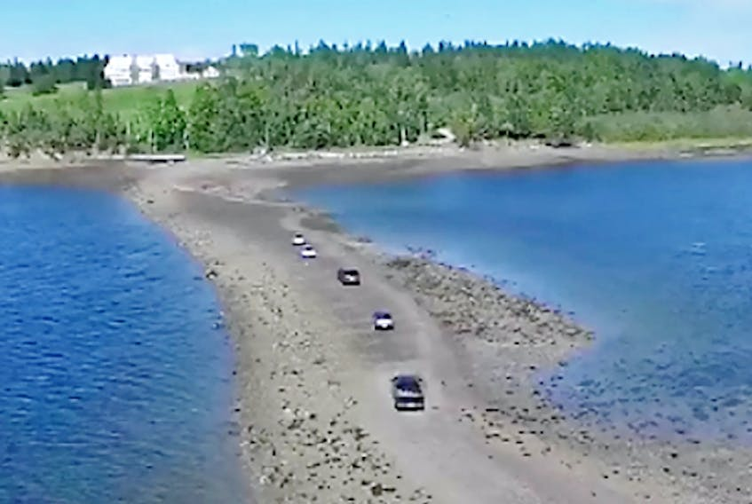 At low tide, one can walk or drive across a wide gravel bar to access Minister's Island in New Brunswick. Photo courtesy of ministersisland.net