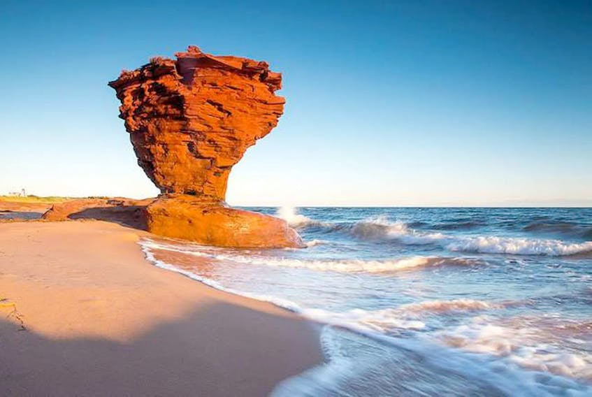 The peculiar geological formation known as Teacup Rock is found on Thunder Cove Beach in the village of Darnley, P.E.I. Carrie Gregory/Courtesy of Tourism PE