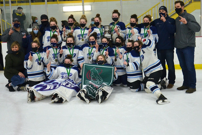The Western Wind edged the Central Storm 3-2 in the fifth and deciding game of the P.E.I. Under-18 Girls Hockey League final at the Evangeline Recreation Centre on Saturday night. Members of the Wind are, front row, from left, Cyriah Richard and Madison Shea. Second row, manager Tish Shea, Bailey Jones, Erin Rennie, Gracie Gaudet, Olivia Callaghan, Gracie Hackett, Kristen Taylor, Macy Hackett and Tianna Gallant. Third row, assistant coach Jeff Hackett, assistant coach Josee Gallant, assistant coach Will O'Brien, Avery Noye, Amelia DesRoches, Chole Gallant, Emma Dyer, Kylie Campbell, Molly MacInnis, Ella Collins, head coach Paul Campbell and assistant coach Blake Millman.