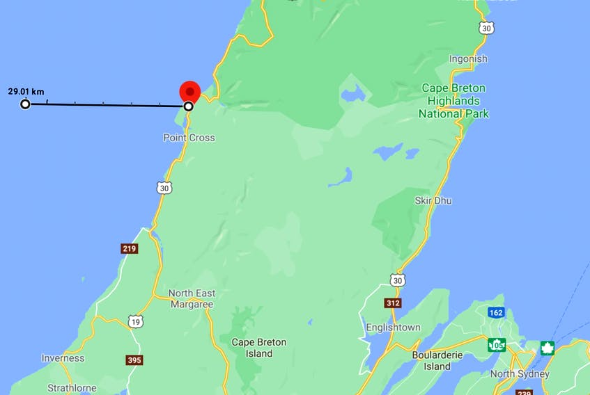 Four people were rescued from a sinking fishing boat about 29 kilometres off Cheticamp on Saturday evening. A search for a missing fifth man continues . -- Google Maps