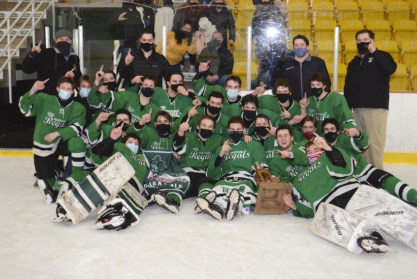 The Western Regals won the P.E.I. Major Under-18 AAA Hockey League championship Saturday at MacLauchlan Arena in Charlottetown. Team members, in no particular order, are Sam Hackett, Carson Wood, Rankin Noye, Colby MacDonald, Michael McRae, Dawson Wallace, Kolby Baker, Garrett Culleton, Turner Ellis, Connor Ellsworth, Marshall Gallant, Liam Greenan, Cole Hemphill, Cody McCormick, Isaac Oliver, Colby Perry, Jack Reilly, Harper Richard, Nylan Hustler and Carson MacArthur. The coaching staff is comprised of Jason Smallman, Joey Dumville, Curklan Fraser and Connor Morrissey while Tish Shea is the manager and April Hustler the assistant manager.