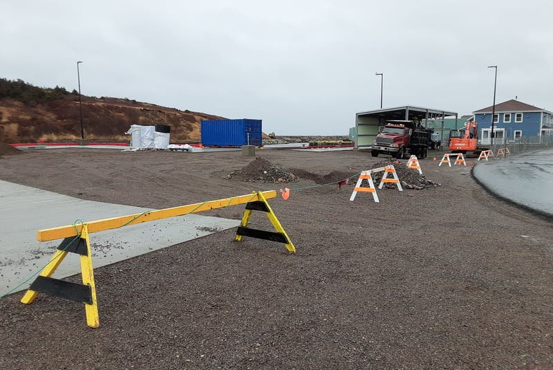 Work was continuing Monday on the Fortune Port Authority's project to upgrade the wharf in Fortune to allow passenger vehicles to board the French ferries servicing St-Pierre-Miquelon. — PAUL HERRIDGE/THE TELEGRAM - Paul Herridge