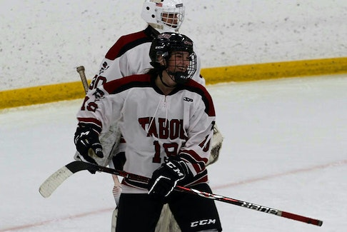 St. John's hockey player Abby Newhook on the ice with her U.S. prep school team Tabor Academy. She's due to join Boston College in the fall on a full scholarship. Contributed