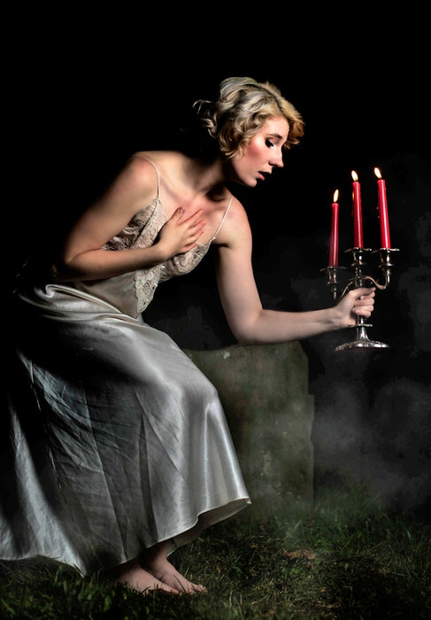 A portrait of friend Brittany McLeod of Sydney at a church Shauna Madden of Shauna Madden Photography recently took on the Esplanade at night. Madden said her friend wanted to look like the heroine on the front of  gothic novel. Contributed/Shauna Madden