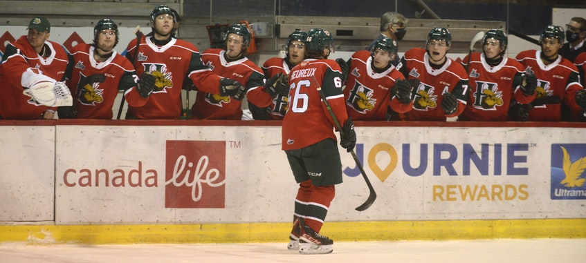 Halifax Mooseheads sniper Zachary L'Heureux celebrates one of his goals Sunday with his teammates. - Jason Malloy