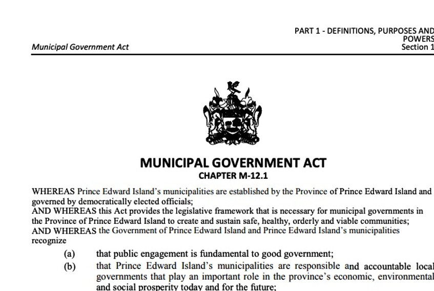 Prince Edward Island's Municipal Government Act was passed by the provincial legislature in 2017 without public consultation or a public vote. Screengrab