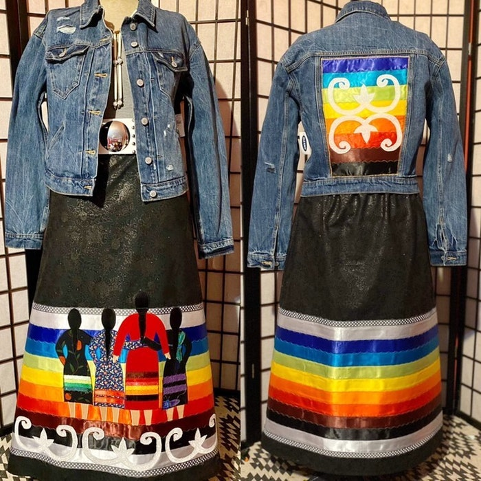 Candia Flynn, one half of Healing Stitches, the business she runs with her husband, created this ribbon skirt and jacket set for Chief Annie Bernard-Daisley of We'koqma'q First Nation. CONTRIBUTED - Ardelle Reynolds