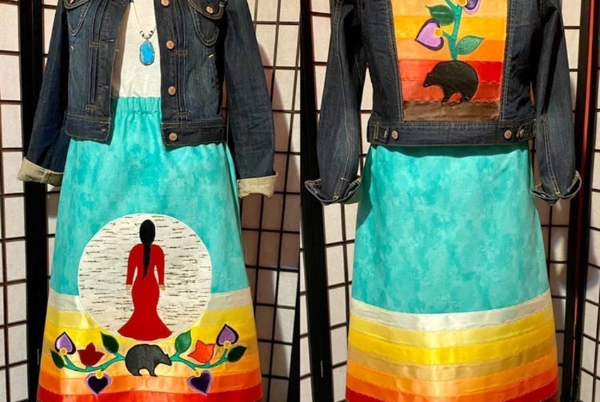 This ribbon skirt set was custom made for Chief Annie Bernard-Daisley to reflect her advocacy for missing and murdered Indigenous women and girls and incorporates her favourite colour, turquoise.  CONTRIBUTED