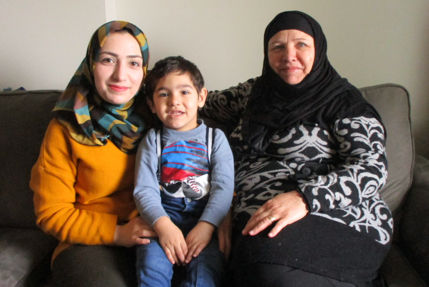 One of Wolfville's three Syrian refugee families Nahed Osman and her mother Suaad Rustum, along with Nahed's young son, are hoping Suaad's youngest son and family can immigrate to Nova Scotia. - Contributed