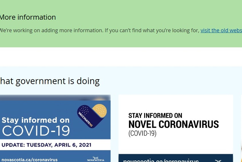 The Nova Scotia government's new website often just redirects you to the old one several years into the project.