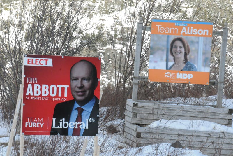 Campaign signs for St. John's East-Quidi Vidi Liberal John Abbott and New Democratic Party Leader Alison Coffin during the election. Joe Gibbons/The Telegram  - Joseph Gibbons