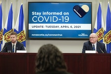 Premier Iain Rankin and Dr. Robert Strang, Nova Scotia's chief medical officer of health, hold a COVID-19 briefing in Halifax on Tuesday, April 6, 2021.