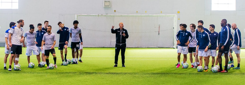 HFX Wanderers head coach Stephen Hart speaks to his players during the team's pre-season training camp at the BMO Soccer Centre in Halifax. - Trevor MacMillan - Contributed