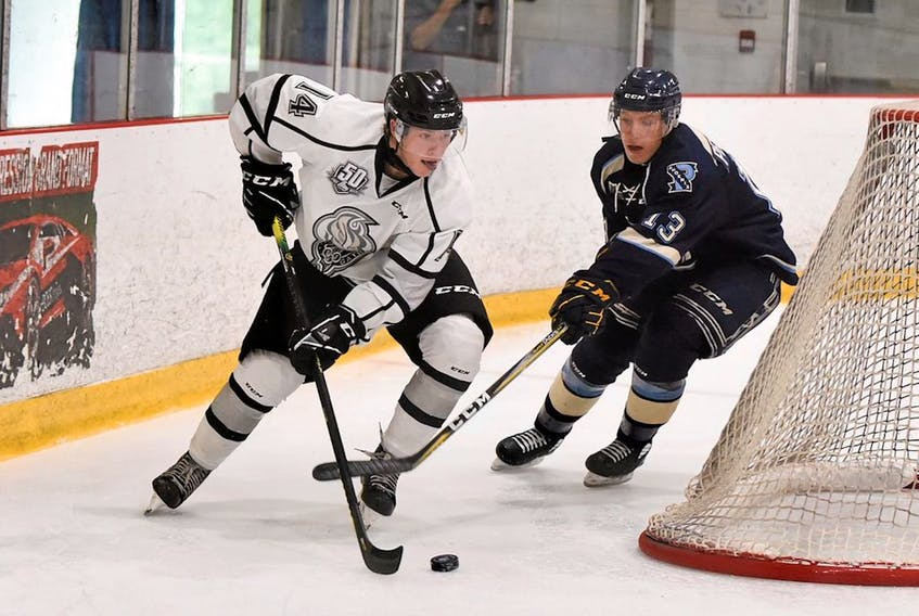 Mount Pearl's Zachary Dean (left) in action the QMJHL's Gatineau Olympiques  draft. — File photo
