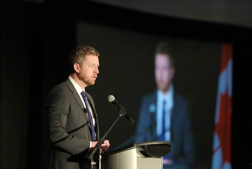 Nova Scotia Premier Iain Rankin delivers a state-of-the-province address to the Halifax Chamber of Commerce at the Halifax convention centre Wednesday, April 7, 2021.