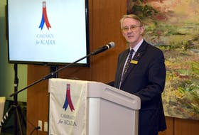 Acadia University president and vice-chancellor Dr. Peter Ricketts speaks at the launch of Campaign for Acadia. He said funds raised through the campaign would help support the university's strategic direction. PETER OLESKEVICH PHOTO