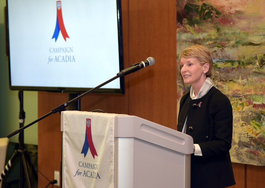 Campaign for Acadia chairwoman Nancy McCain says the fundraising initiative was completed two years ahead of schedule, greatly exceeding its goal. PETER OLESKEVICH PHOTO