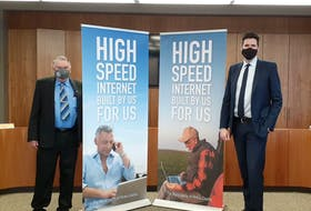 Warden Robert Parker and Central Nova MP Sean Fraser help announce Federal government investment into rural internet project.